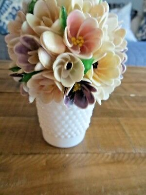 Vintage small milk glass flower pot with shell flowers unique