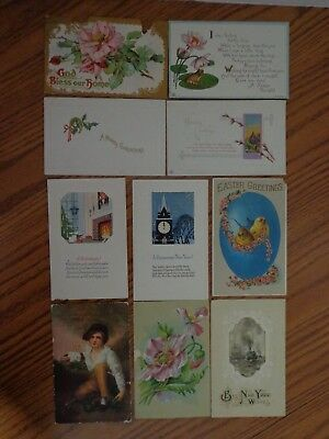 Vintage Lot of 10 Holiday Postcards - early 1900's
