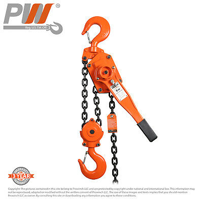 ProWinch Lever Chain Hoist 6 ton 13,200 lbs 2 falls 5 ft G80 Black Tempered C...