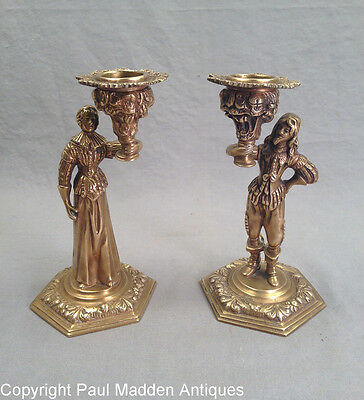 Antique 19th C. Pair French Figural Candlesticks