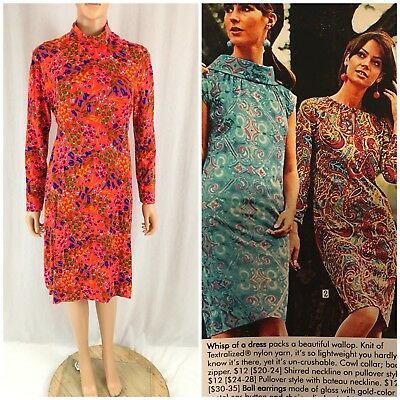 Vtg. 60s 70s Bright Micro Floral Shift Dress Tie Waist MOD Retro Fun Neon M