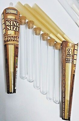 6 Pcs Cones® Unbleached King Size Rolled Cones + 6 Pcs Acrylic Tube Cone Holder
