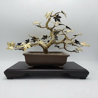 Vintage Asian Gold Gilt Metal Bonsai Tree Sculpture w/ Stand ~ 12""