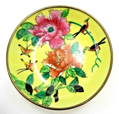 """Hand Pained Enamel Bowl Made In China With Wall Hook Rare 5"""" Vintage Chinese"""