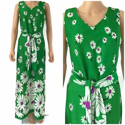 Vtg 60s 70s Green Daisy Floral All Over Maxi Dress Belt Party Sleeveless M/L 12