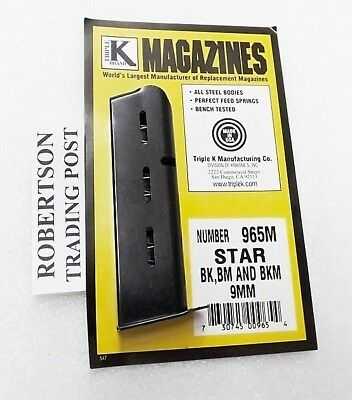 Triple K 8 Shot Magazine Fits Star Model BM BK BKM 9mm 965M BM9 BKM9 3 ship Free