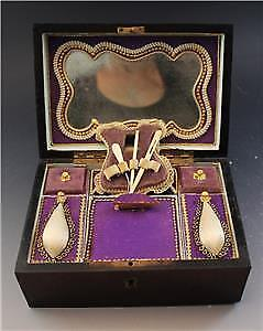 19C French Palais Royal Sewing Box Case w/ Tools & Mother of Pearl Inlay