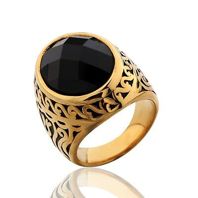 Mens Gold Stainless Steel Black Onyx Celtic Band Unique Chic Wedding Rings