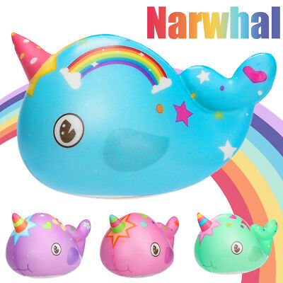 Kawaii Narwhal Cream Scented Slow Rising Squishies Toy Stress Relief (11x7cm) DE