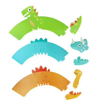 12 Sets Cupcake Wrappers Dinosaur Patterns Paper Wrap Cupcake Liner for Birthday