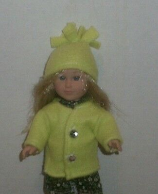 Doll Clothes-fit Mini American Girl Boy My Life-Coat & Hat-Fleece-Lime