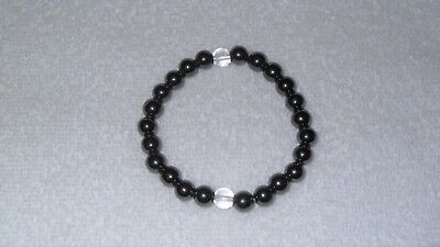 Non Magnetic Hematite Black Round Beads Crystal Gem Stretch Therapy Bracelet