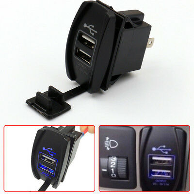 3.1A Dual LED USB Car Auto Power Supply Charger Port Socket Waterproof 12-24V A