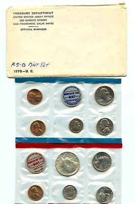 1970 us mint set uncirculated OGP set as seen in scans .