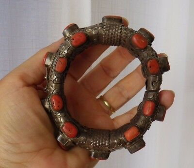 Tibet Nepal Solid Silver Koralle Silber bracelet natural no dye coral Armreif