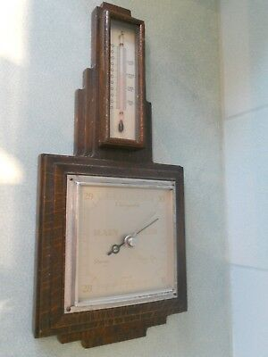 Vintage Smiths Art Deco Barometer & Thermometer In Stepped Oak Surround