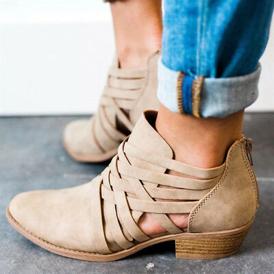 7e1139ab9040 Women s Casual Shoes Booties Low Block Heels Ankle Boots Shoes Zipper PU  Leather