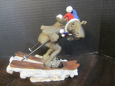 Bearfoots Moose's on skis wearing jester hat big sky carvers by Phyllis Driscoll