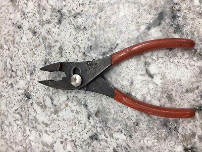 "Snap On Tools 46CP Slip Joint Pliers Black Finish Red Grip Made in USA 6 "" long"