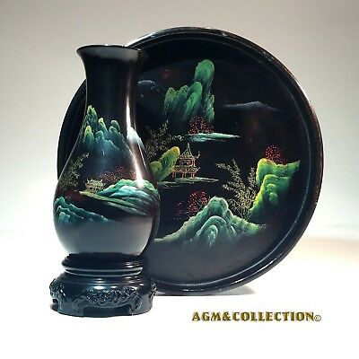 Vintage Chinese Black Lacquer Art / Vase & Tray/ Hand Made & Hand Painted / 1950