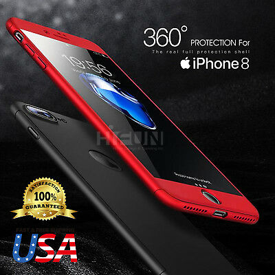 360°  Full Body Coverage Protective Ultra-thin case fits iPhone + Tempered Glass