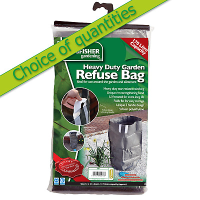 Garden refuse rubbish bag heavy duty large 170L long life robust deal for 1 to 4