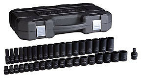 "Gearwrench 39 pc 1/2"" drive Master SAE Shallow + Deep Impact Socket Set #84947N"