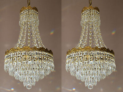 Two Matching Chandeliers,Antique ceiling lighting, Vintage crystal Lights, lamps