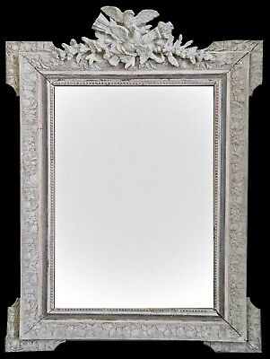 Antique French Mirror, Carved Wood, Gesso & Gilt, Carved Bird Crest,19th Century