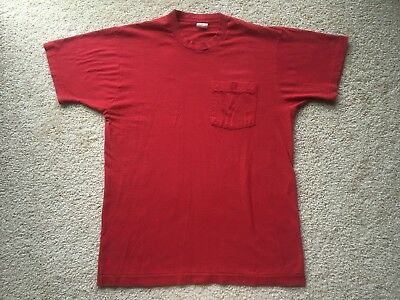 7a9f89e8 VINTAGE 1980s FRUIT OF THE LOOM PLAIN BLANK POCKET RED T-SHIRT vtg 1970s  thin