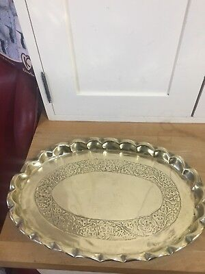 Antique Arts And Crafts pie crust Brass Tray