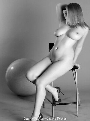 "Nude Woman in Chair With Ball 8.5x11"" Photo Print Naked Female Modern Photo B&W"