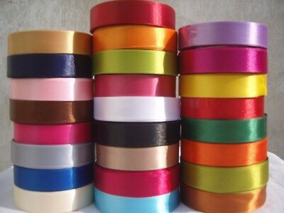 Double Sided Satin Ribbon Rolls Reels 25mm 12mm Width x 18m length, Craft & Gift