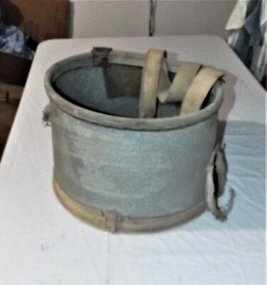 VTG Apple / Fruit Pickers Picking Metal Bucket Basket w/ Shoulder Strap, Canvas