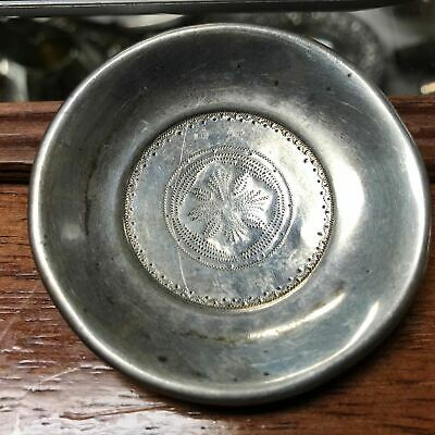 """Antique Wrought Silver Chased Coin Silver 2.5"""" Miniature Plate Butter Pat"""
