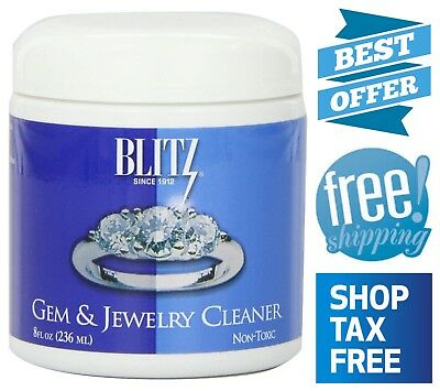 Jewelry & Gem Cleaner Cleaning Basket and Brush Non-Toxic 8 Oz for Gold Silver