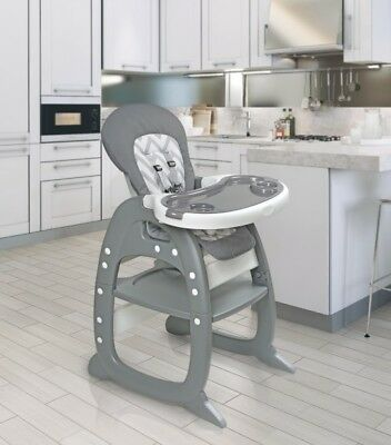Envee II Infant Baby High Chair w/ Play Table/Chair Conversion Gray Chevron NEW