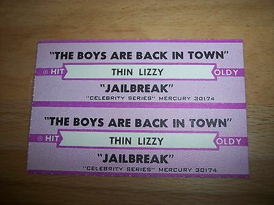 "2 Thin Lizzy The Boys Are Back In Town (p) Jukebox Title Strip CD 7"" 45RPM"