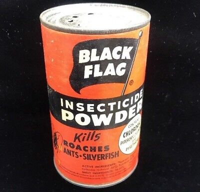 Vintage Insecticide Black Flag Ant Insect Pest Powder Paper Tin Can Boyle Midway