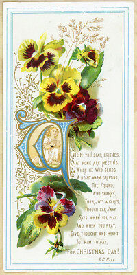 "7"" Hidden Angel Pansy Friendship Verse Antique 1800s Victorian Christmas Card"