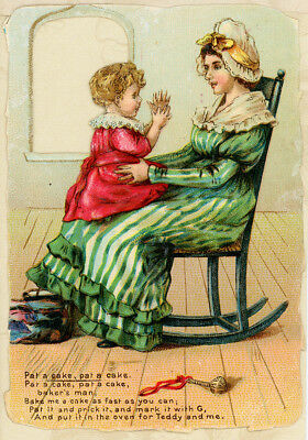 Die Cut Window Nursery Rhyme Mom Rocks Baby Girl Antique 1800s Victorian Card
