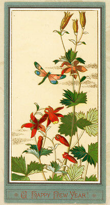 Art Nouveau Dragonfly Asian Garden Antique 1800s Victorian New Year Card