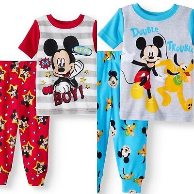 DISNEY BABY Boys' Mickey Mouse Short Sleeve 2pc Pajamas - Blue or Red