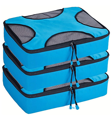 3 PC Packing Cubes Travel Organizer Luggage Compression Bag