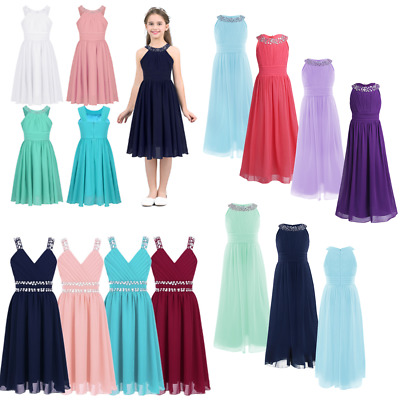 Girls Sequins Chiffon Flower Girl Dress Pageant Party Wedding Bridesmaid Gown
