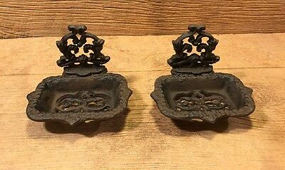 """Victorian Cast Iron Soap Dish 4 1/2"""" wide (Set of Two) Home Decor 0170-07604"""