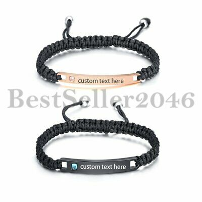 Personalized His and Hers Couples Stainless Steel Bar Leather Braided Bracelets