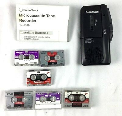 Radioshack Microcassette 2 Speed Tape Recorder 14-1148 with 6 Cassettes TESTED