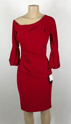 046c1e0723e A28 WOMEN S BETSY Adam Red One Shoulder Bell Sleeve Dress Size 8 NEW ...