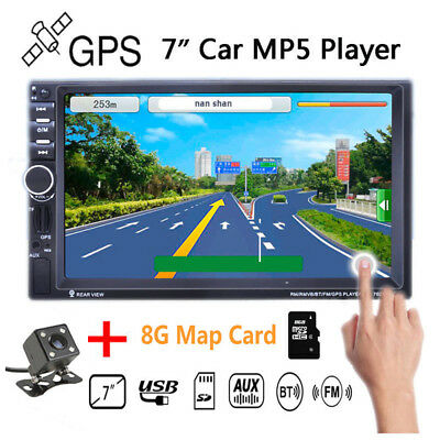 """Bluetooth GPS MP5 Player 7"""" HD 2DIN Car Radio Stereo  Touch TF/AUX/FM/USB Remote"""